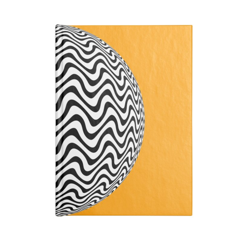 Decorative Black and White Op Art on Orange Accessories Lined Journal Notebook by The Digital Crafts Shop