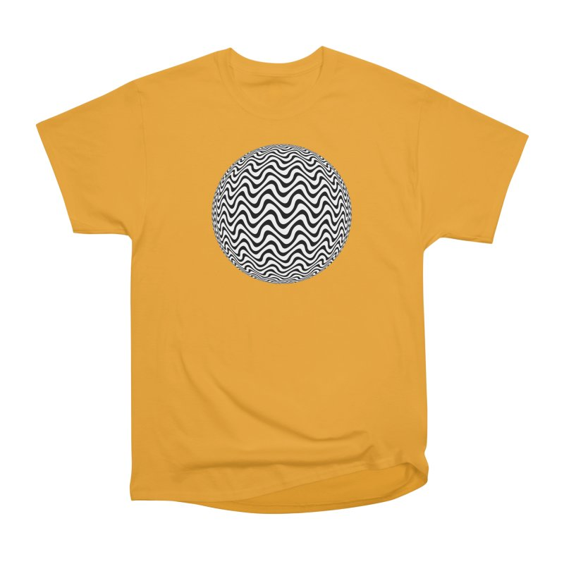 Decorative Black and White Op Art on Orange Men's Heavyweight T-Shirt by The Digital Crafts Shop