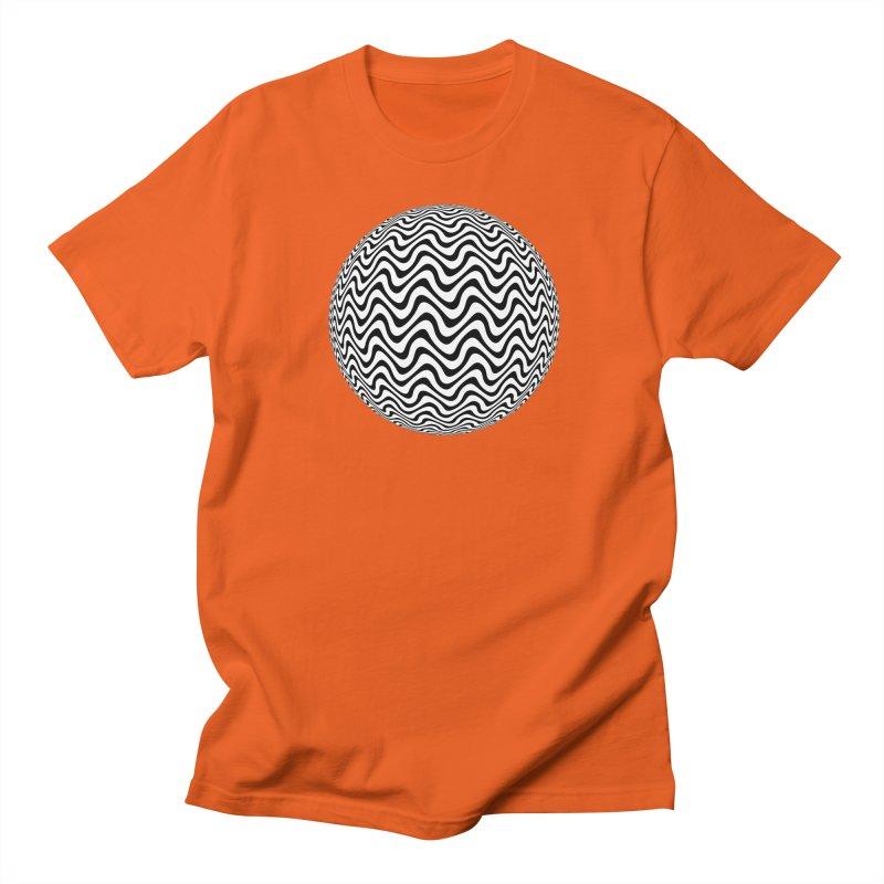 Decorative Black and White Op Art on Orange Men's Regular T-Shirt by The Digital Crafts Shop