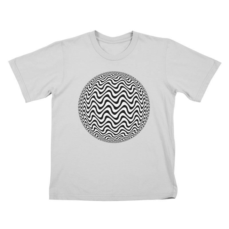 Decorative Black and White Op Art on Orange Kids T-Shirt by The Digital Crafts Shop