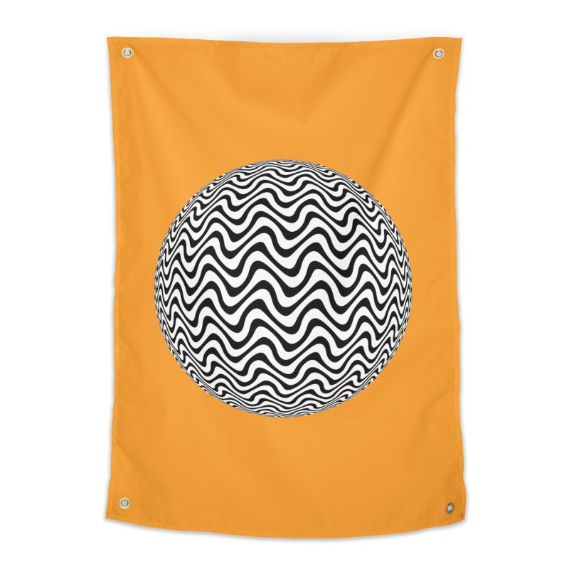 Decorative Black and White Op Art on Orange Home Tapestry by The Digital Crafts Shop