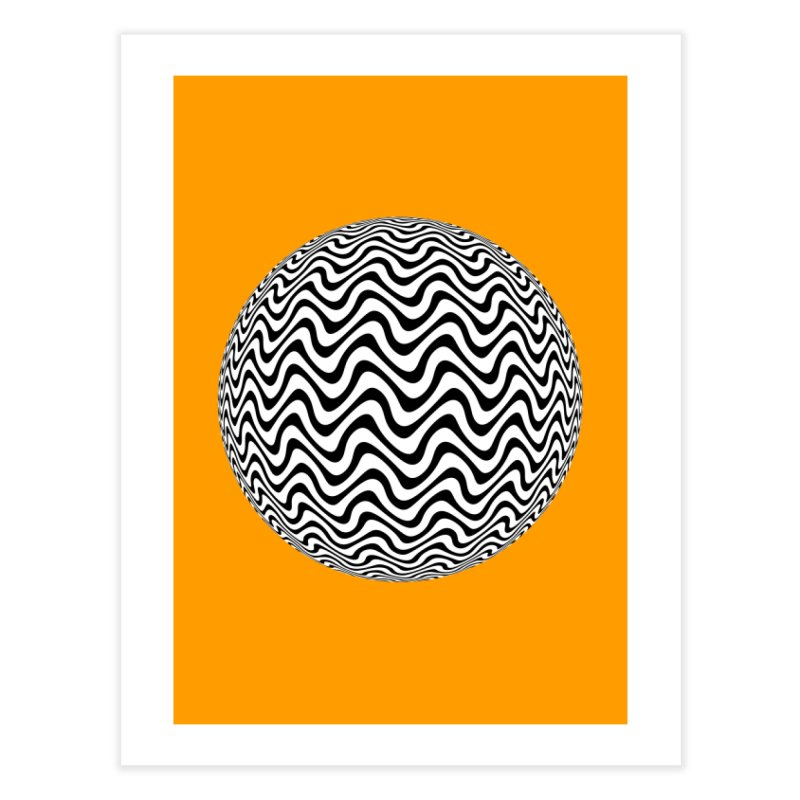 Decorative Black and White Op Art on Orange Home Fine Art Print by The Digital Crafts Shop