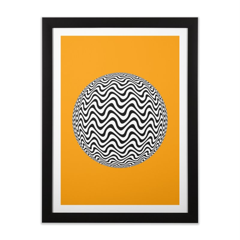 Decorative Black and White Op Art on Orange Home Framed Fine Art Print by The Digital Crafts Shop