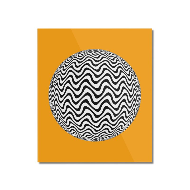 Decorative Black and White Op Art on Orange Home Mounted Acrylic Print by The Digital Crafts Shop