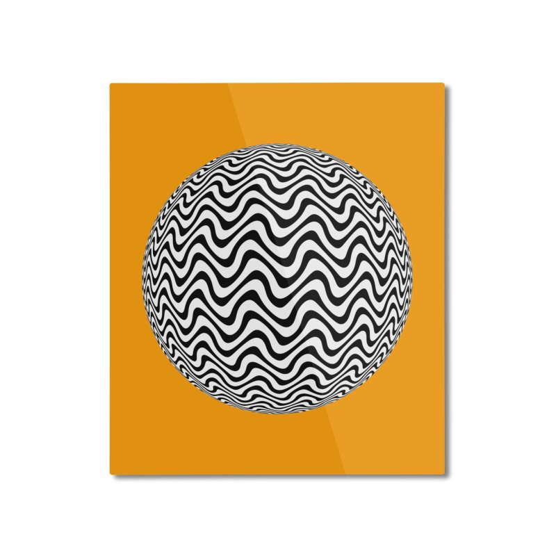 Decorative Black and White Op Art on Orange Home Mounted Aluminum Print by The Digital Crafts Shop