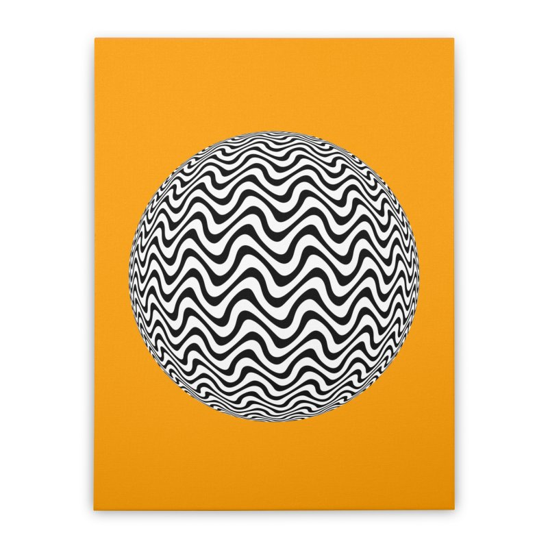 Decorative Black and White Op Art on Orange Home Stretched Canvas by The Digital Crafts Shop