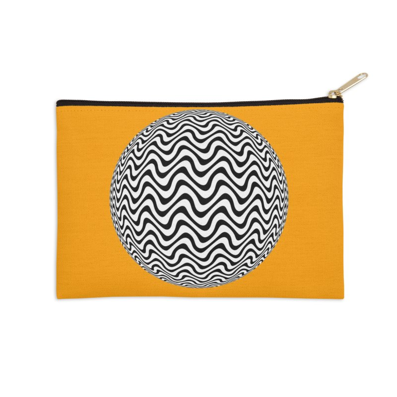 Decorative Black and White Op Art on Orange Accessories Zip Pouch by The Digital Crafts Shop
