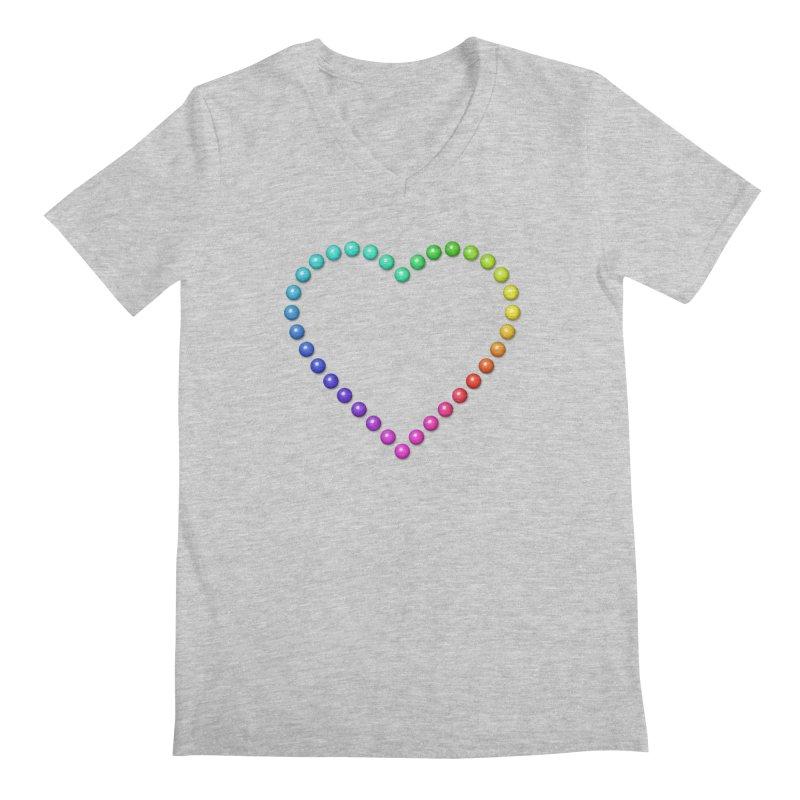 Rainbow Heart Men's Regular V-Neck by The Digital Crafts Shop