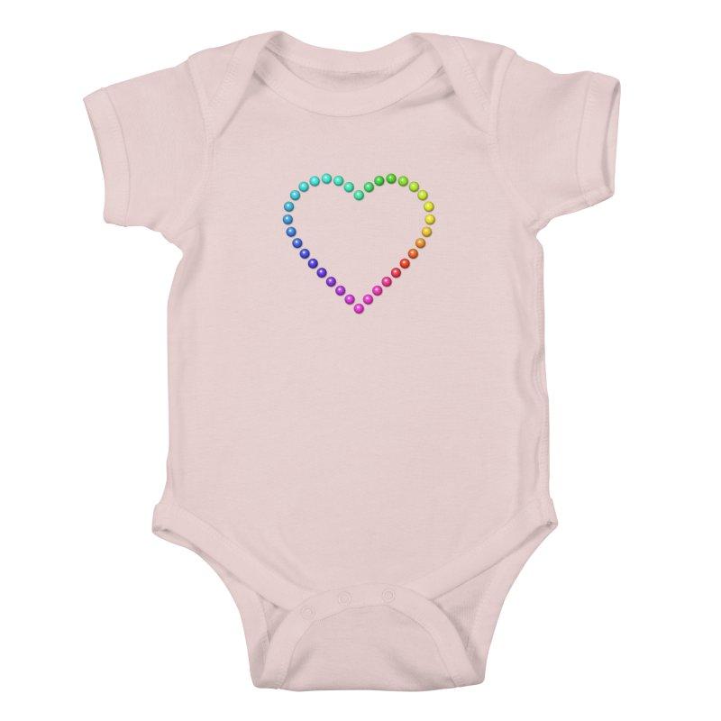 Rainbow Heart Kids Baby Bodysuit by The Digital Crafts Shop