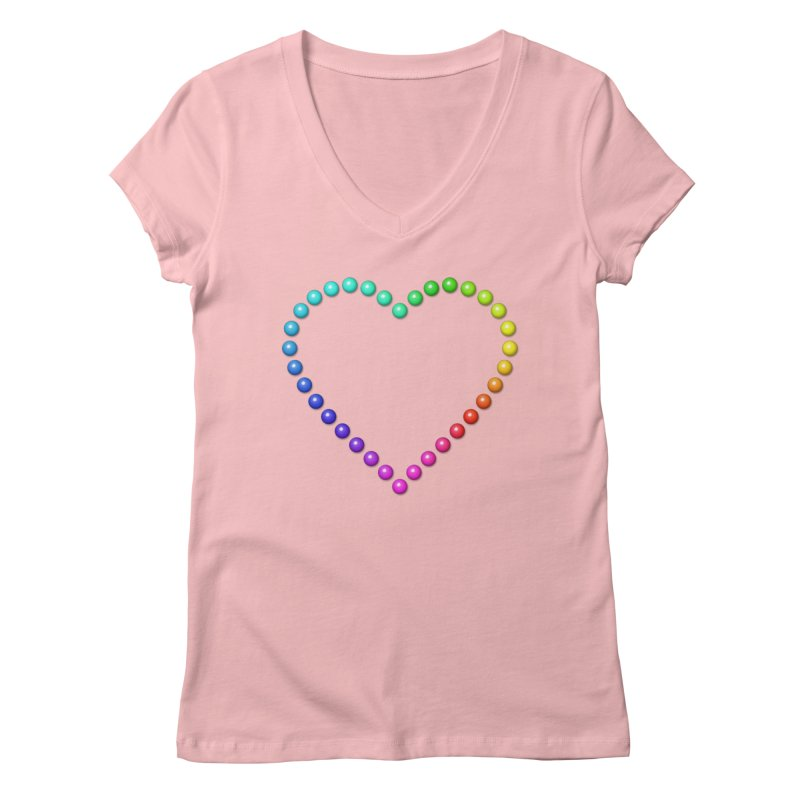Rainbow Heart Women's Regular V-Neck by The Digital Crafts Shop