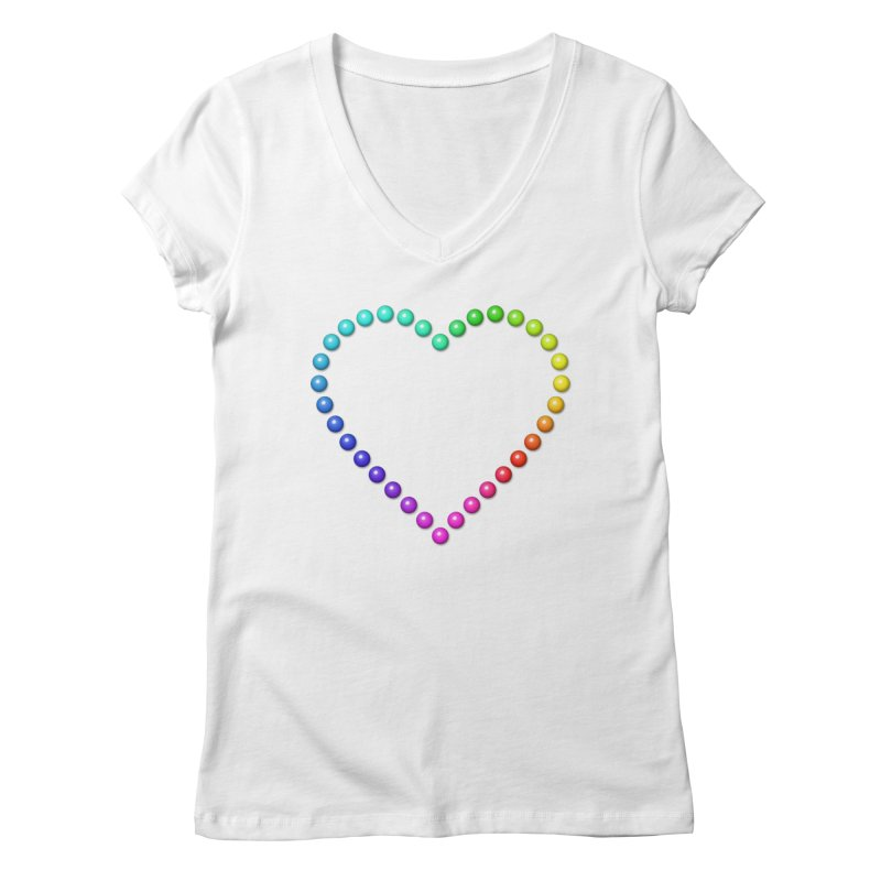 Rainbow Heart Women's Regular V-Neck by The Digital Crafts Shop