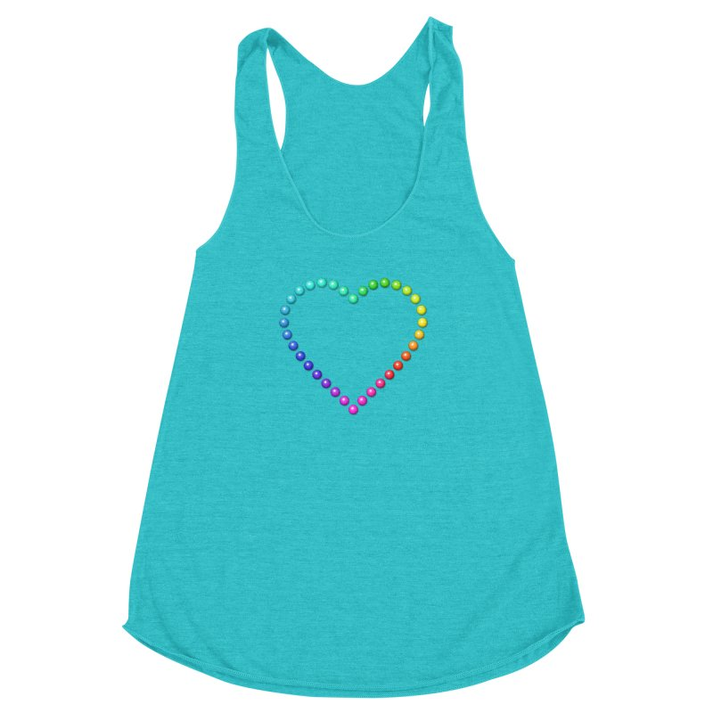Rainbow Heart Women's Racerback Triblend Tank by The Digital Crafts Shop