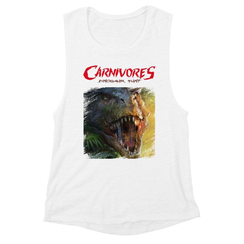 Carnivores: Dinosaur Hunt - T-Rex Scratch (on light) Women's Tank by Digital Dreams Entainment Shop