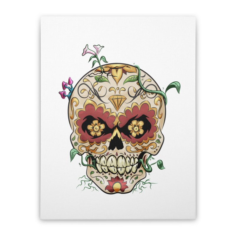 Sugar Skull Home Stretched Canvas by Dijanni's Artist Shop