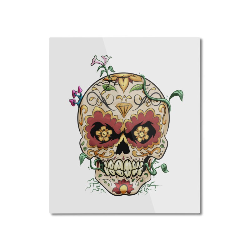 Sugar Skull Home Mounted Aluminum Print by Dijanni's Artist Shop