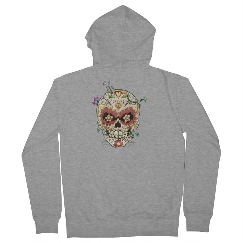 Sugar Skull Men's French Terry Zip-Up Hoody by Dijanni's Artist Shop