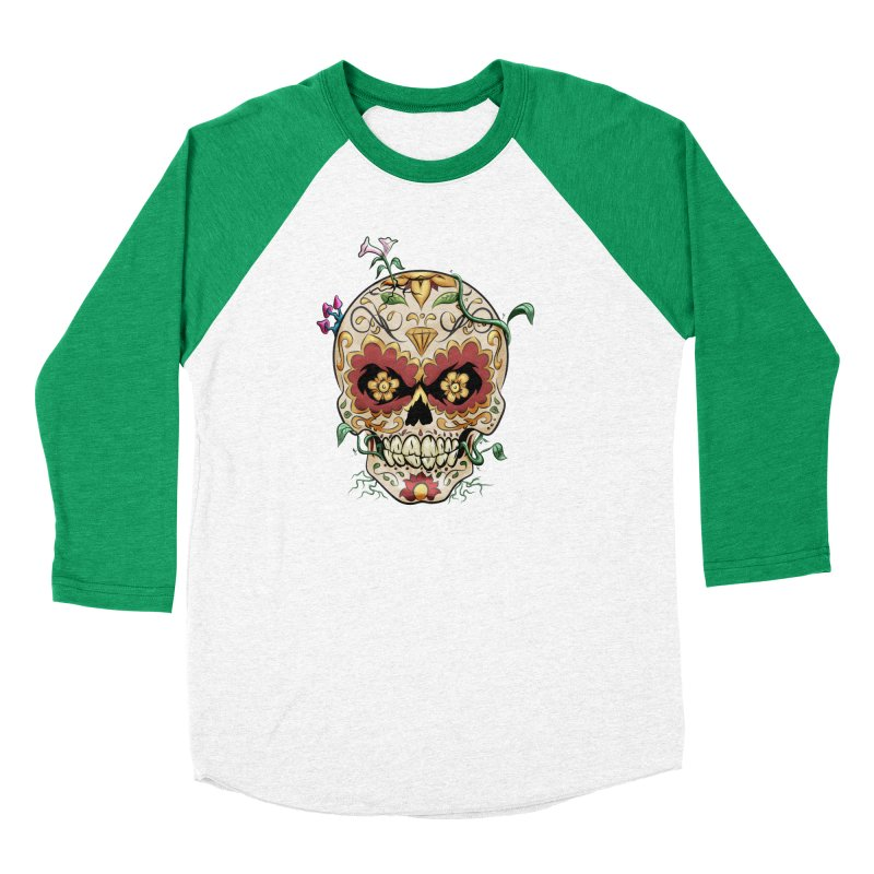Sugar Skull Women's Baseball Triblend Longsleeve T-Shirt by Dijanni's Artist Shop