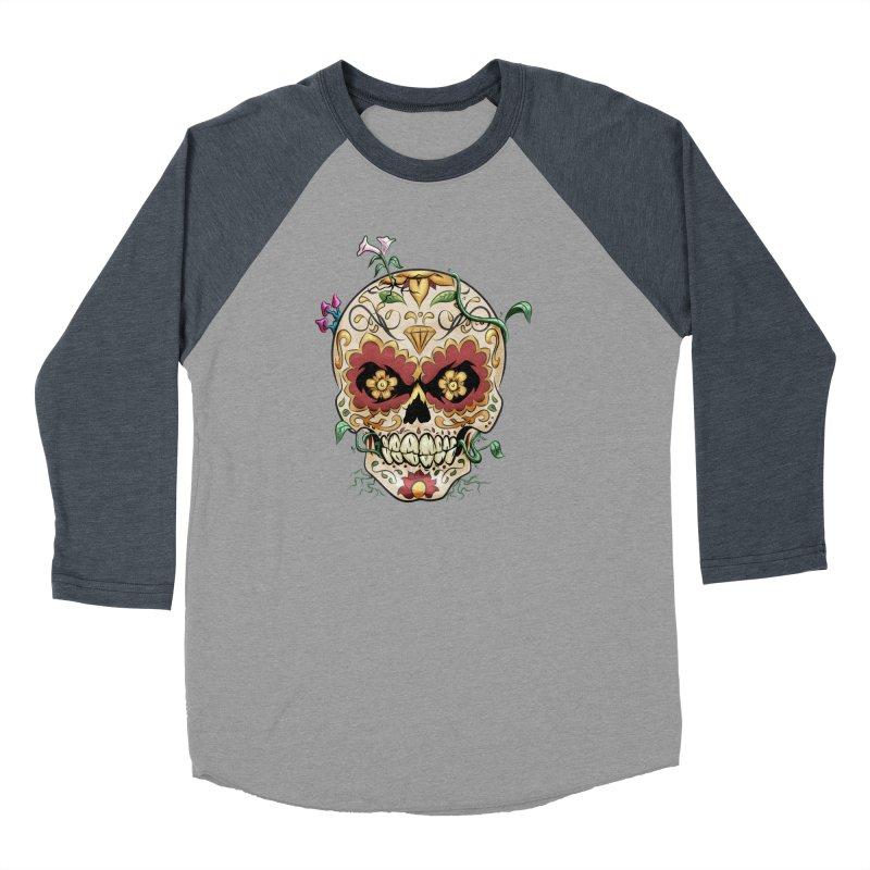 Sugar Skull Women's Baseball Triblend Longsleeve T-Shirt by Dijanni's Artist Shop