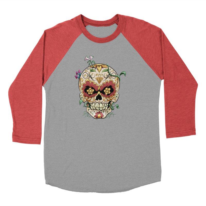 Sugar Skull Men's Baseball Triblend Longsleeve T-Shirt by Dijanni's Artist Shop