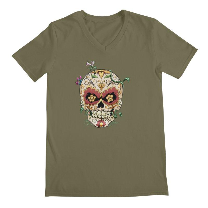 Sugar Skull Men's Regular V-Neck by Dijanni's Artist Shop