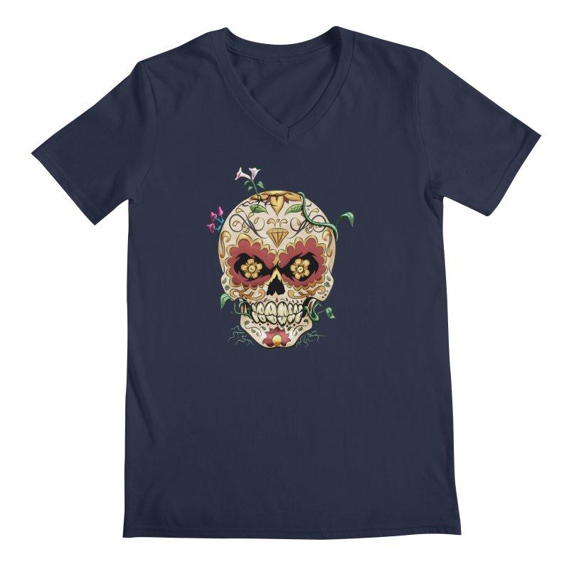 Sugar Skull Men's V-Neck by Dijanni's Artist Shop