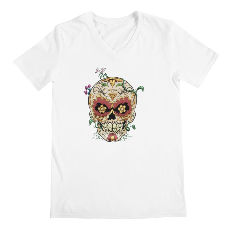 Sugar Skull Men's Regular V-Neck by Dijanni's Artist Shop