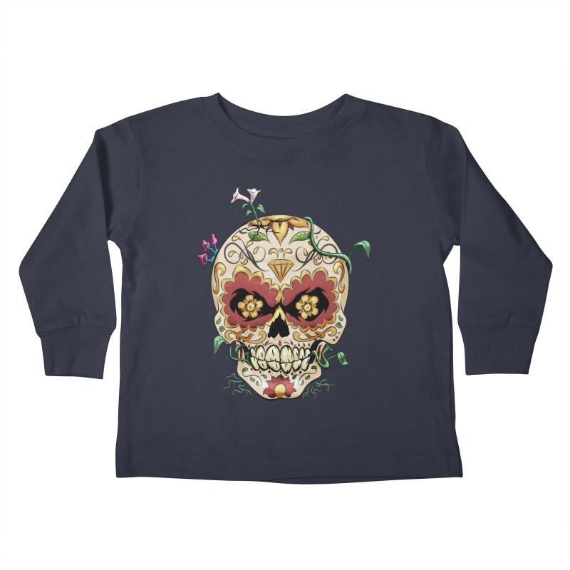 Sugar Skull Kids Toddler Longsleeve T-Shirt by Dijanni's Artist Shop