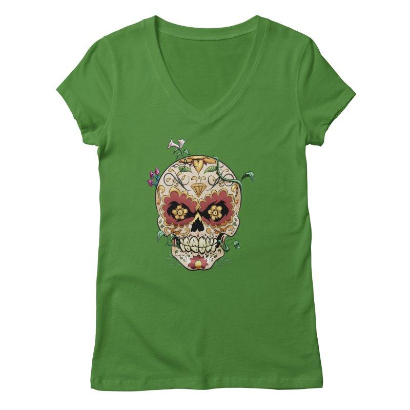Sugar Skull Women's Regular V-Neck by Dijanni's Artist Shop