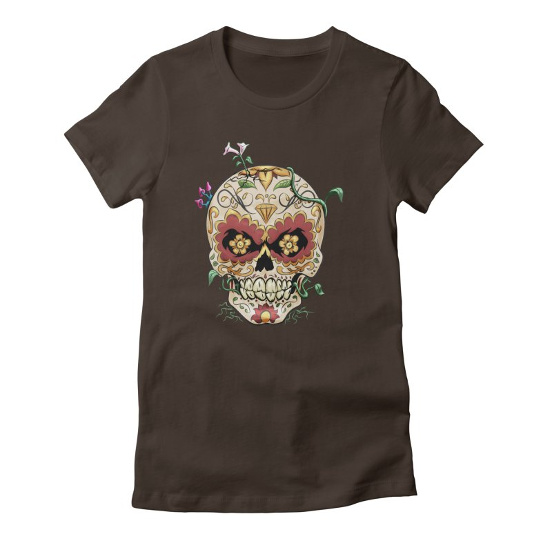 Sugar Skull Women's Fitted T-Shirt by Dijanni's Artist Shop