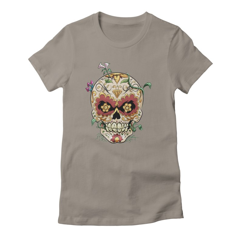 Sugar Skull Women's Fitted T-Shirt by Dijanni's Artist Shop