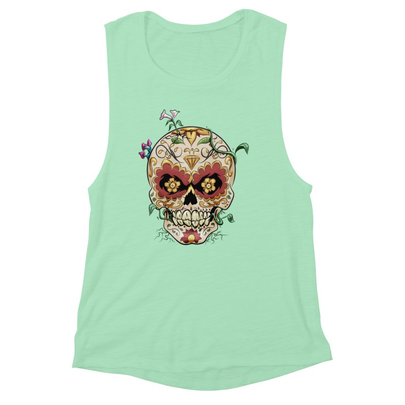 Sugar Skull Women's Muscle Tank by Dijanni's Artist Shop