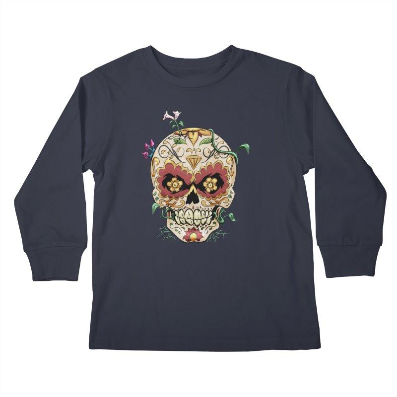 Sugar Skull Kids Longsleeve T-Shirt by Dijanni's Artist Shop