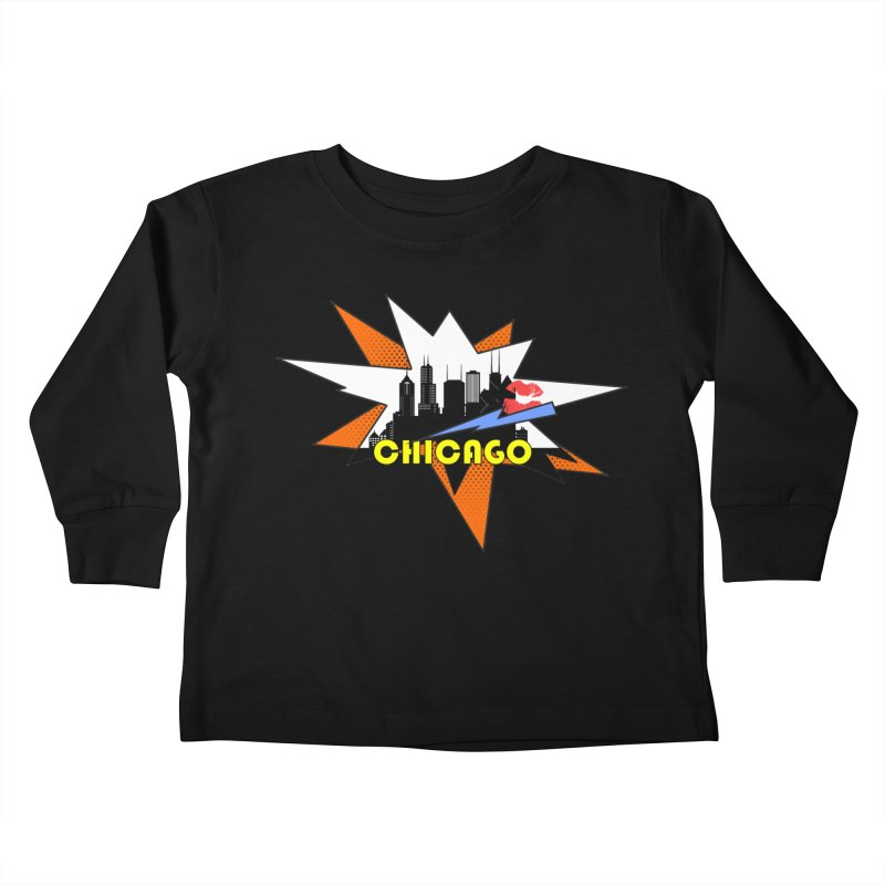 Chicago pop art skyline Kids Toddler Longsleeve T-Shirt by DimDom's Artist Shop