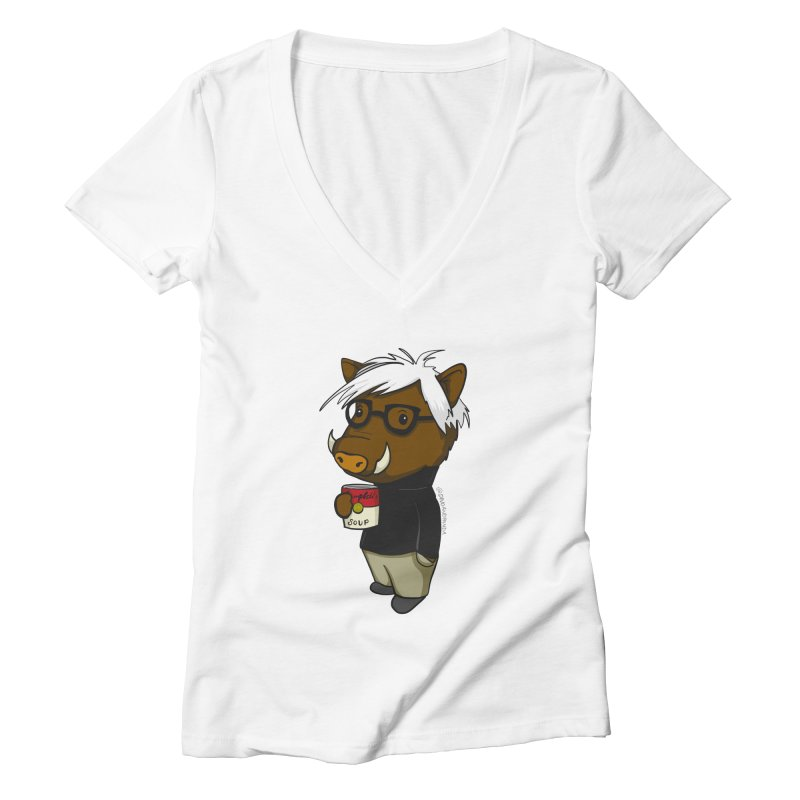 Andy Warthog Women's Deep V-Neck V-Neck by Dino & Panda Inc Artist Shop