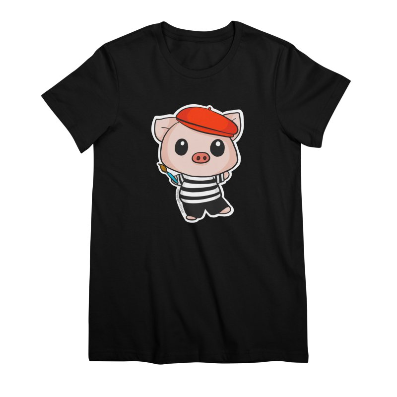 Pablo Pigcasso Women's Premium T-Shirt by Dino & Panda Inc Artist Shop
