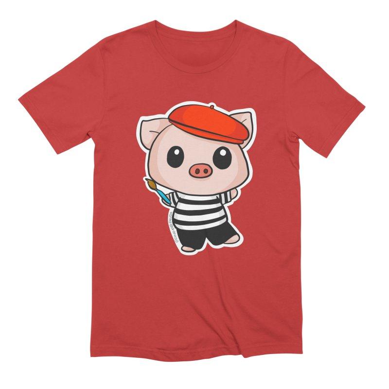 Pablo Pigcasso Men's Extra Soft T-Shirt by Dino & Panda Inc Artist Shop