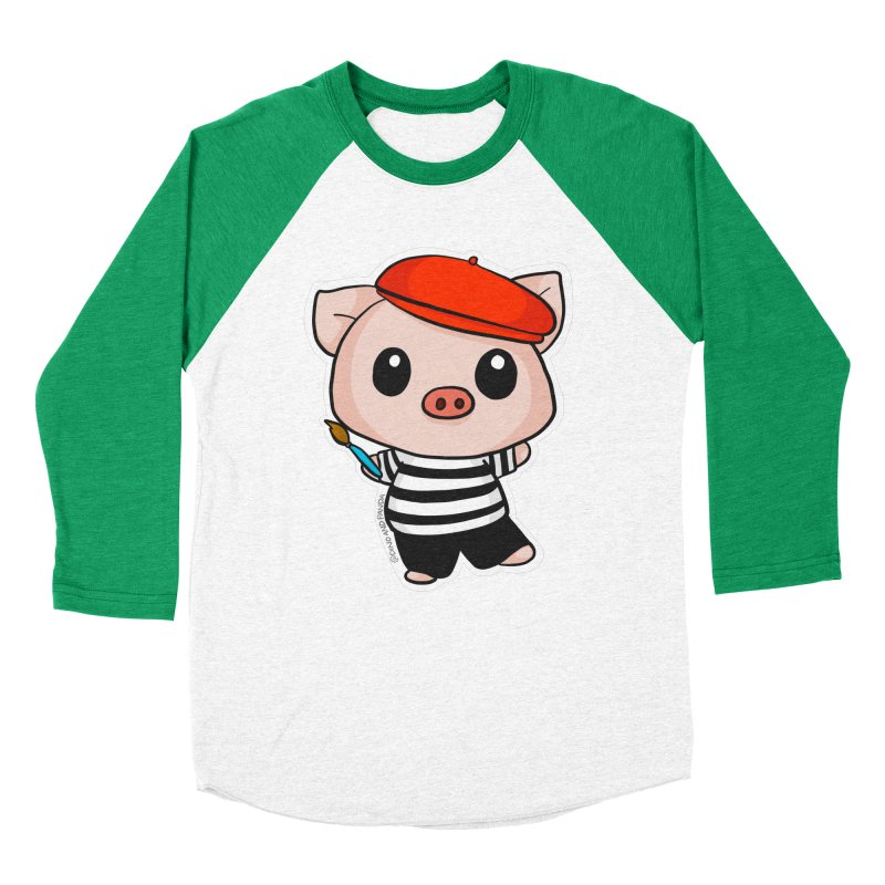 Pablo Pigcasso Women's Baseball Triblend Longsleeve T-Shirt by Dino & Panda Inc Artist Shop