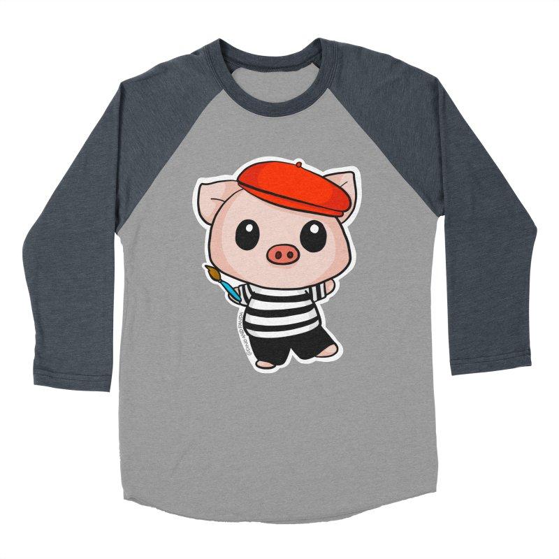 Pablo Pigcasso Men's Baseball Triblend Longsleeve T-Shirt by Dino & Panda Inc Artist Shop