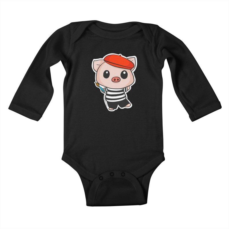 Pablo Pigcasso Kids Baby Longsleeve Bodysuit by Dino & Panda Inc Artist Shop