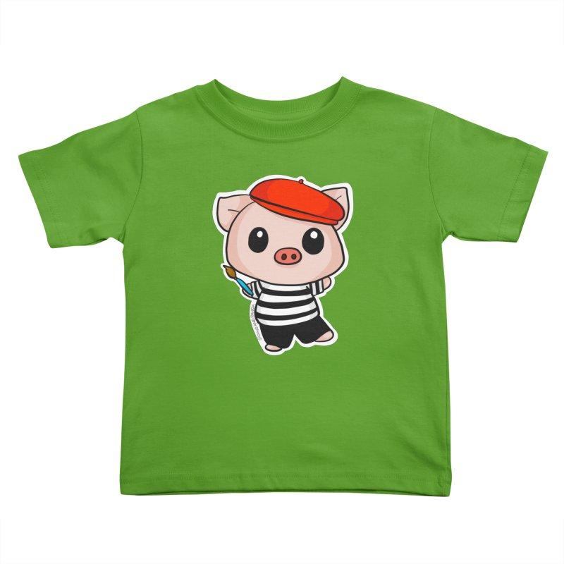 Pablo Pigcasso Kids Toddler T-Shirt by Dino & Panda Artist Shop