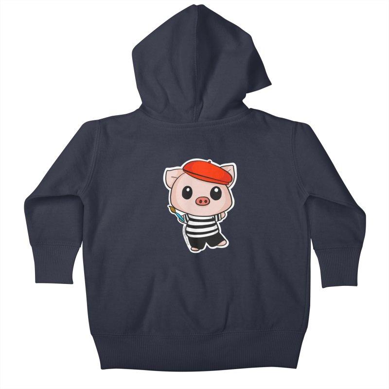 Pablo Pigcasso Kids Baby Zip-Up Hoody by Dino & Panda Inc Artist Shop