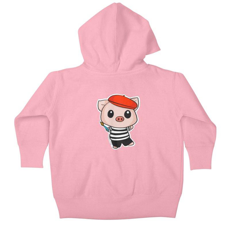 Pablo Pigcasso Kids Baby Zip-Up Hoody by Dino & Panda Artist Shop