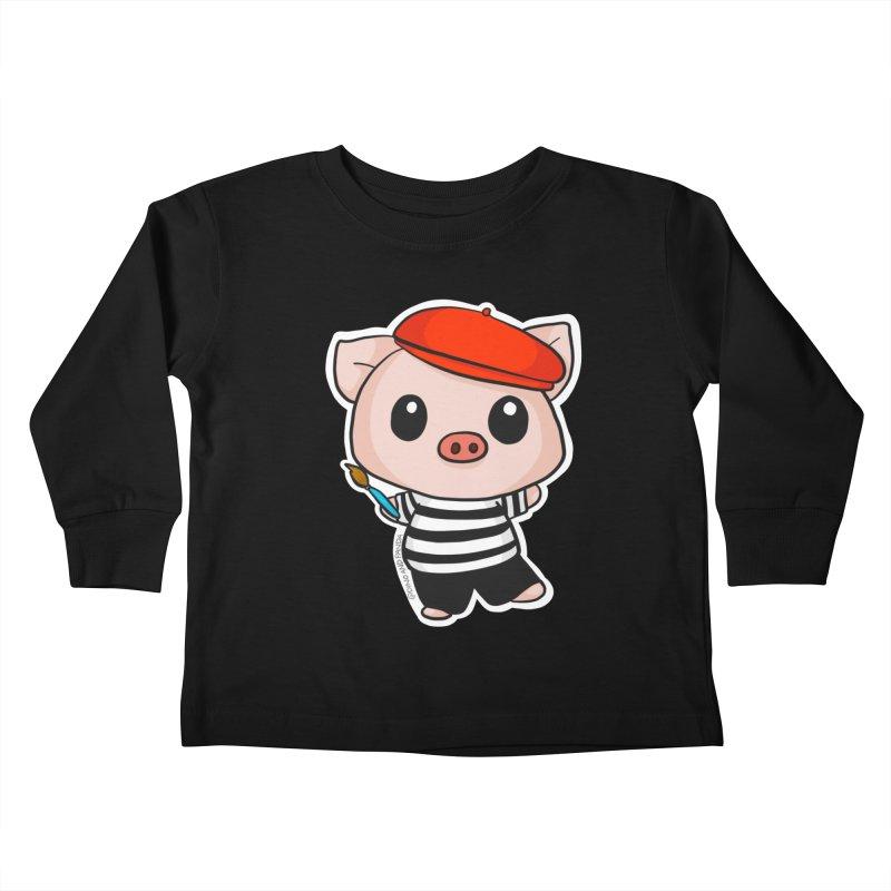 Pablo Pigcasso Kids Toddler Longsleeve T-Shirt by Dino & Panda Artist Shop