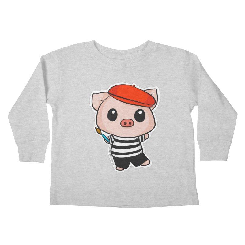 Pablo Pigcasso Kids Toddler Longsleeve T-Shirt by Dino & Panda Inc Artist Shop