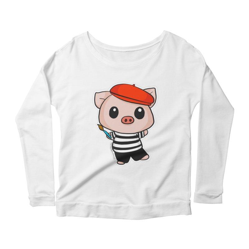 Pablo Pigcasso Women's Scoop Neck Longsleeve T-Shirt by Dino & Panda Inc Artist Shop