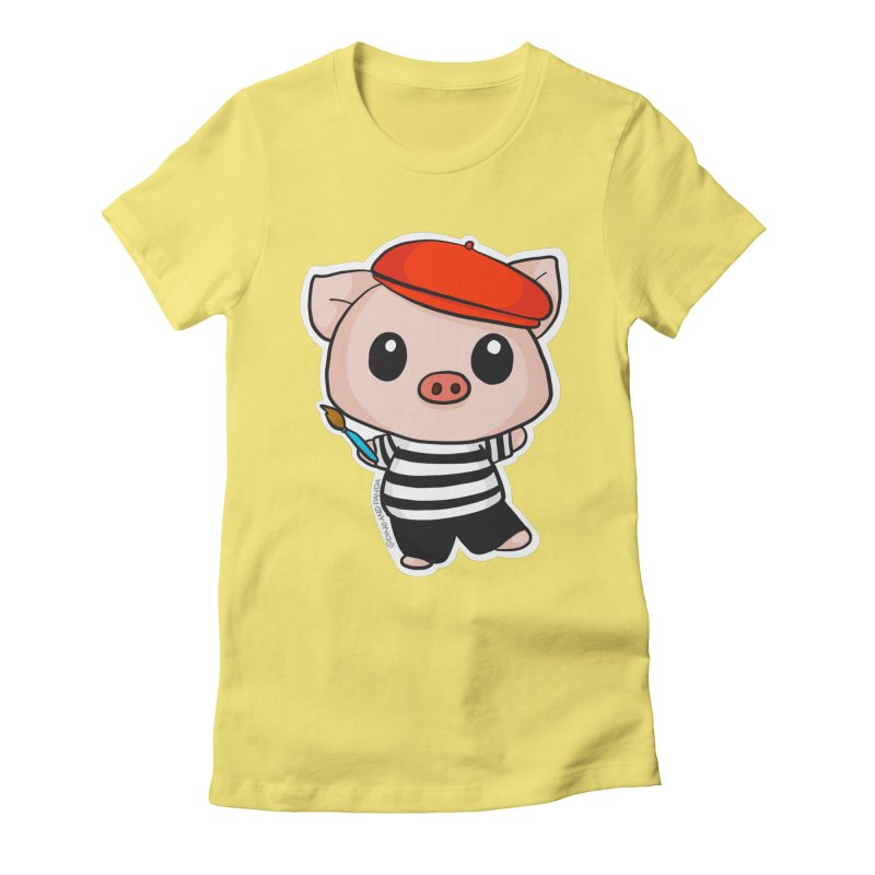 Pablo Pigcasso Women's Fitted T-Shirt by Dino & Panda Inc Artist Shop