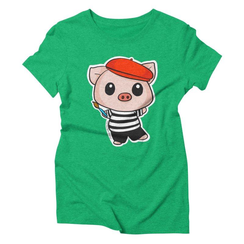 Pablo Pigcasso Women's Triblend T-Shirt by Dino & Panda Inc Artist Shop