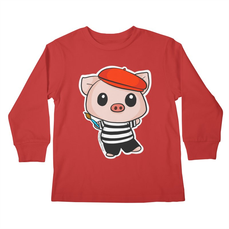 Pablo Pigcasso Kids Longsleeve T-Shirt by Dino & Panda Inc Artist Shop