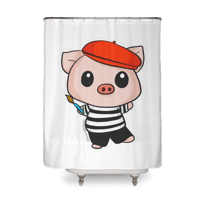 Pablo Pigcasso Home Shower Curtain by Dino & Panda Inc Artist Shop