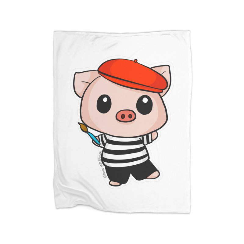 Pablo Pigcasso Home Fleece Blanket Blanket by Dino & Panda Inc Artist Shop
